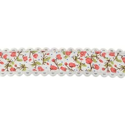 Лента сатен 25 мм рипс бяла с цветя -2 метра