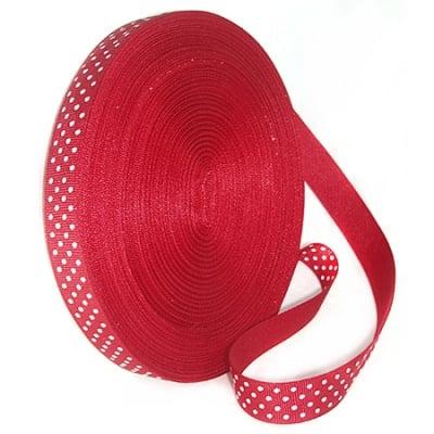 Лента сатен 10 мм рипс точки бели червена -5 метра