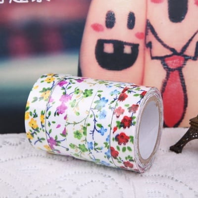 Лента текстил 15 мм самозалепваща на цветя -4 метра