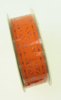 Лента полипропилен 18 мм самозалепваща оранжева с пеперуди -1 метра