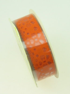 Лента полипропилен 18 мм самозалепваща оранжева с панделки -1 метра