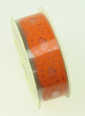 Лента полипропилен 18 мм самозалепваща оранжева със сърца -1 метра