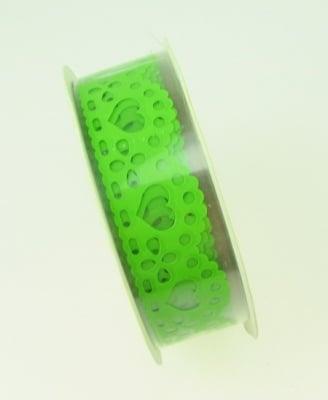 Лента полипропилен 15 мм самозалепваща зелена със сърца -1 метра