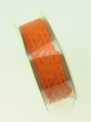 Лента полипропилен 18 мм самозалепваща оранжева с цветя -1 метра