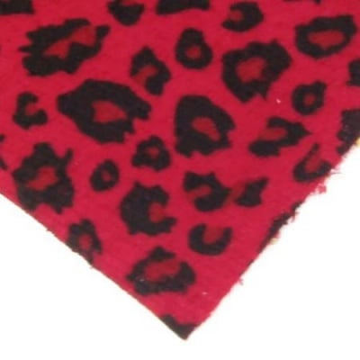 Велур А4 (21x29.7 см) самозалепващ леопардов десен червен