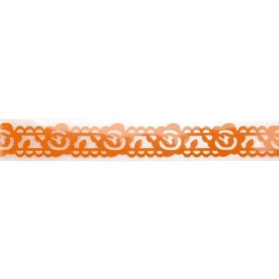 Лента полипропилен 19 мм самозалепваща оранжева с цветя -1 метра