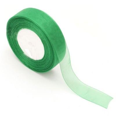 Лента органза 25 мм зелена -45 метра