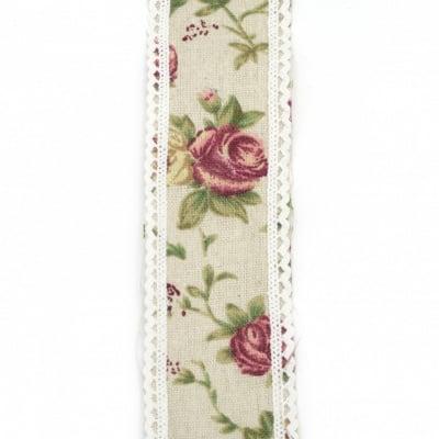 Лента памук за декорация винтидж с дантела памук 5x200 см