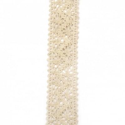 Лента дантела памук 30 мм цвят бежов ~1.80 метра