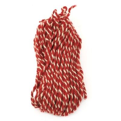 Прежда вълна три ката червено ,бяло -100 грама
