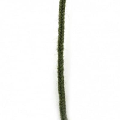 Шнур ГАЙТАН 5мм 100 процента вълна цвят зелен -3 метра