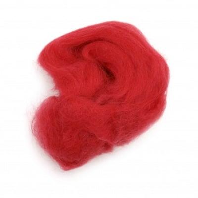 Филц вълна 100% МЕРИНО 66S-21 микрона цвят тъмно червен -4~5 грама