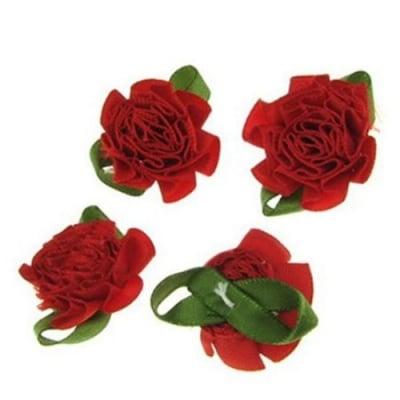 Роза 35 мм сатен с листо червена -10 броя