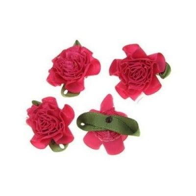 Роза 35 мм сатен с листо розова тъмна -10 броя