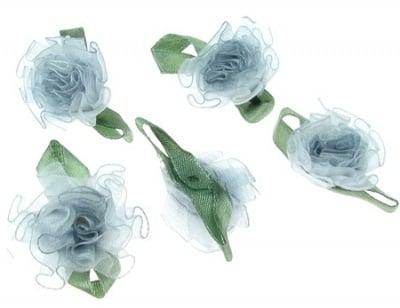 Роза 30 мм органза с листо синя тъмна -10 броя
