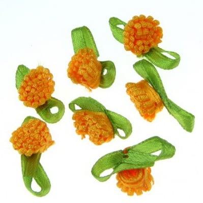 Роза шапка 10 мм с листо оранжева -50 броя