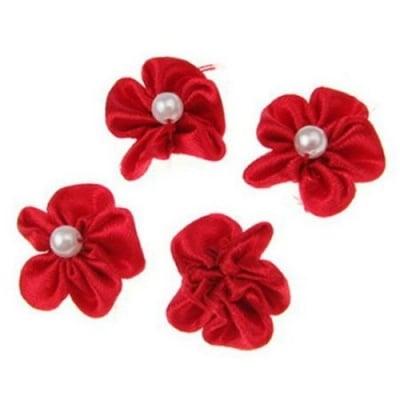 Роза 23 мм с бяла перла червена -10 броя