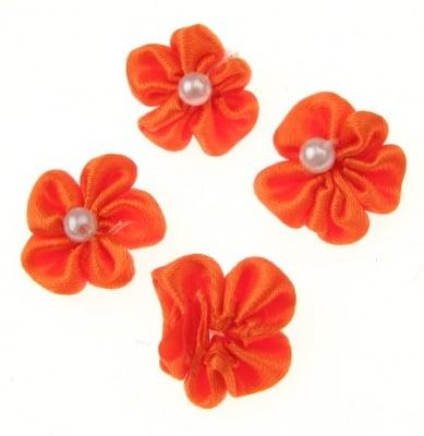 Роза 23 мм с бяла перла оранжева -10 броя