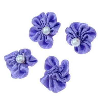 Роза 23 мм с бяла перла лилава -10 броя