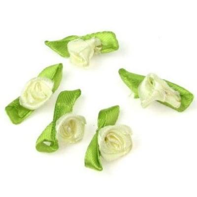 Роза 12х30 мм с листо крем -50 броя