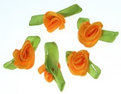 Роза 12х30 мм с листо оранжева -50 броя