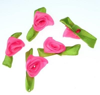Роза 12x30 мм с листо розова електрик -50 броя