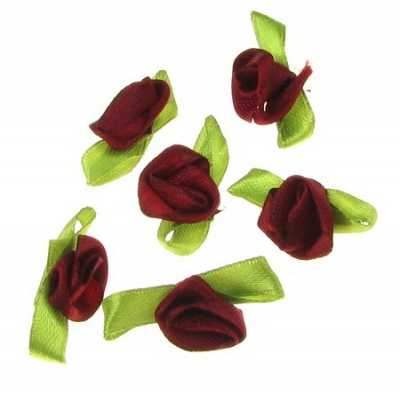 Роза 12х30 мм с листо бордо -50 броя