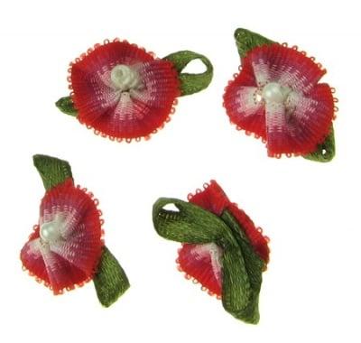 Цвете 18х27 мм с листо и перла бяло и червено -10 броя