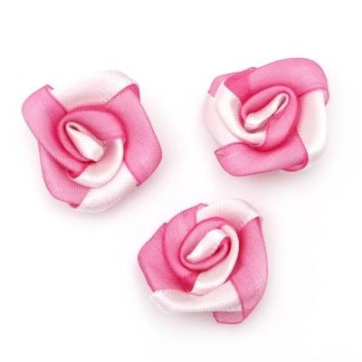 Роза сатен и органза 25 мм розово и бяло -10 броя