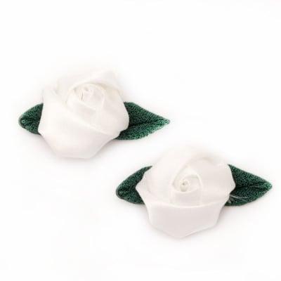 Роза 25 мм сатен с листо текстил бяла -10 броя