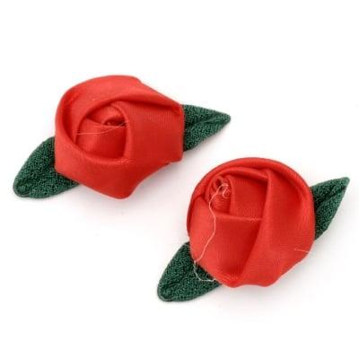 Роза 25 мм сатен с листо текстил червена -10 броя