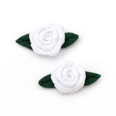 Роза 20 мм с листо текстил бяла -10 броя