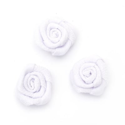 Роза 30 мм текстил бяла -5 броя