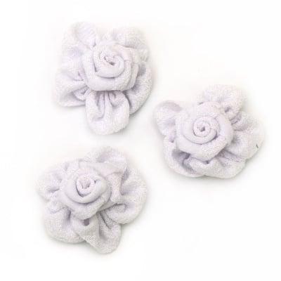 Роза 38 мм текстил бяла -5 броя