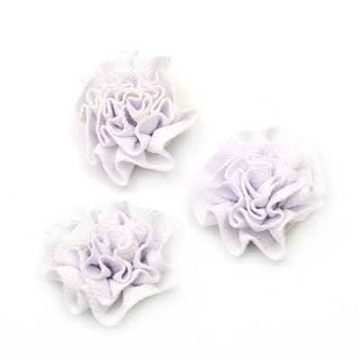 Цвете 53 мм текстил бяло -5 броя