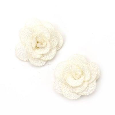 Роза 30 мм текстил крем -5 броя