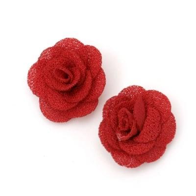 Роза 30 мм текстил червена -5 броя