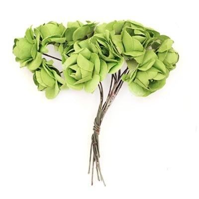 Роза букет хартия и тел 20x80 мм зелена -12 броя