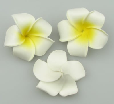 Цвете гумирано 55 мм бяло жълто -5 брой
