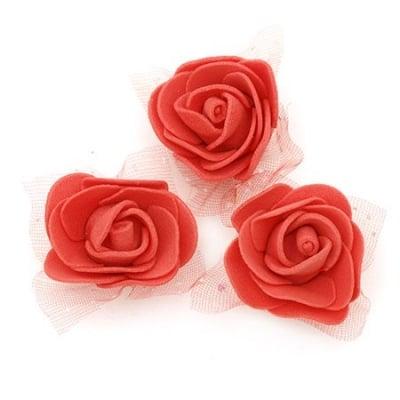 Цвят роза 35 мм гума органза червена -10 броя
