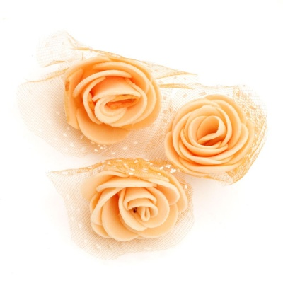Цвят роза 35 мм гума органза оранжева -10 броя