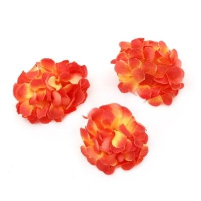 Цвят карамфил 45 мм с пънче за монтаж оранжев -10 броя