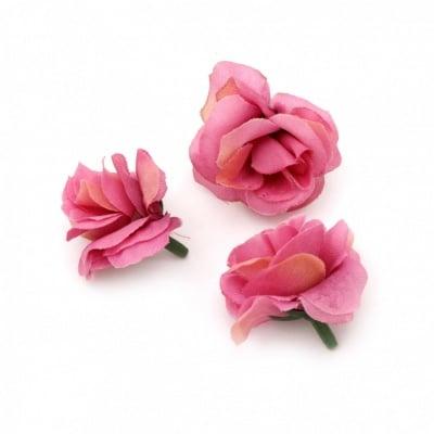 Цвят роза 40 мм с пънче за монтаж розова лилава - 10 броя