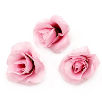 Цвят роза 40 мм с пънче за монтаж розова - 10 броя