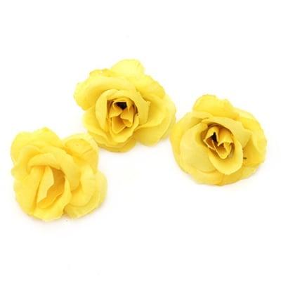 Цвят роза 40 мм с пънче за монтаж жълта - 10 броя