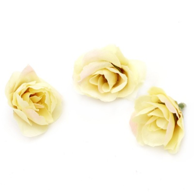 Цвят роза 40 мм с пънче за монтаж жълта светла - 10 броя