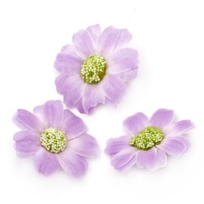 Цвят маргаритка 45 мм с пънче за монтаж лилава светла - 10 броя