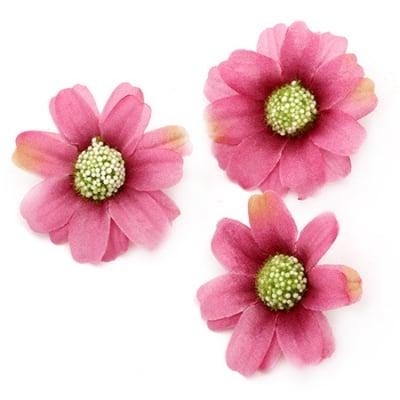 Цвят маргаритка 45 мм с пънче за монтаж розова тъмна - 10 броя