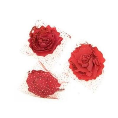 Цвят роза 65 мм гума органза брокат червена
