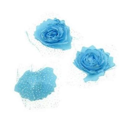 Цвят роза 65 мм гума органза брокат синя